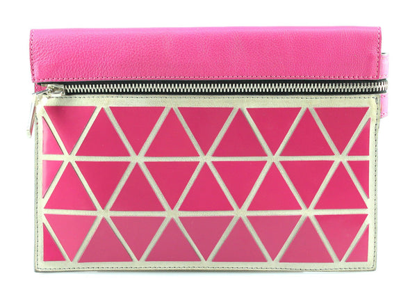 Victoria Beckham Small Geometric Pouch 2014 Pink/White