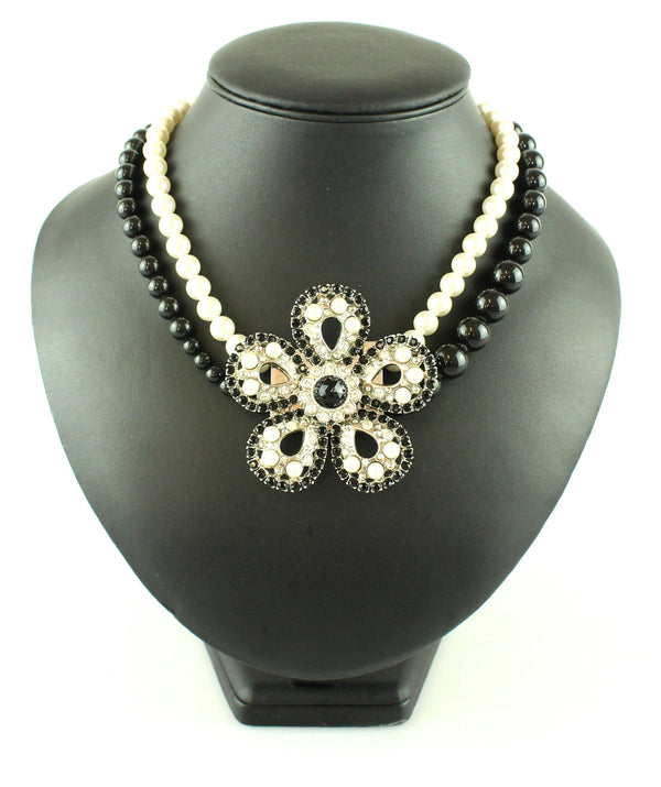 Miu Miu  Black And White Costume Pearl Floral Diamante Neckpiece