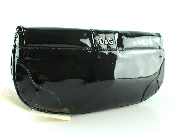 Dolce And Gabbana Black Patent Bow Clutch