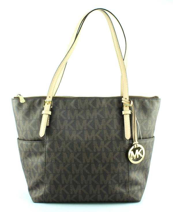Michael Kors Brown Monogram Side Pocket Jet Set Tote GH (3)