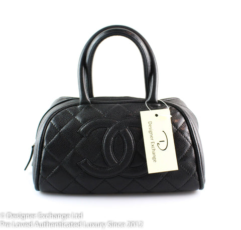 Chanel Black Caviar Quilted Dome Bowler Bag 11584474
