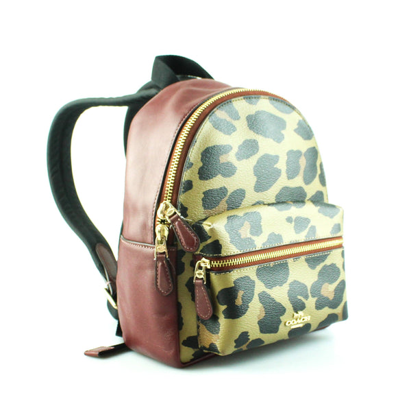 Coach Mini Charlie Backpack Ltd Edition Burgundy And Leopard
