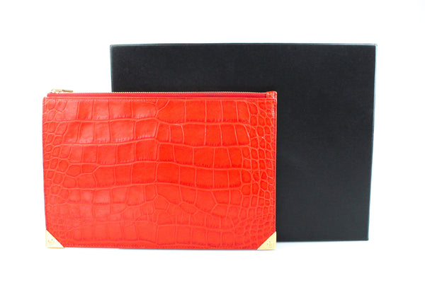 Alexander Wang Croc Embossed Tangerine Pouch