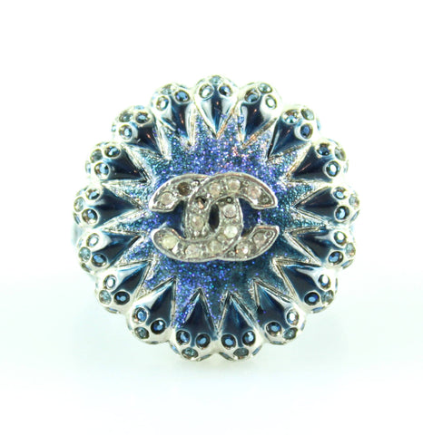Chanel Sample Runway Cocktail Ring Blue/Dark Blue