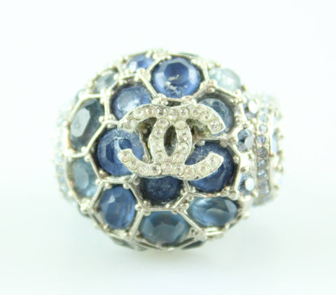 Chanel Sample Runway Cocktail Ring Blue