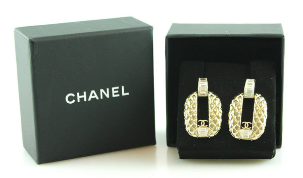 Chanel 2015 Quilted Goldstone Dangle Earrings