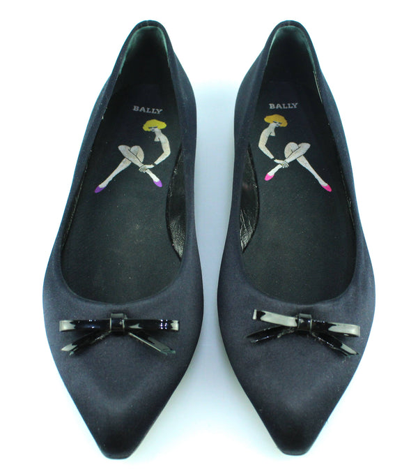 Bally Ballerina Black Bow Satin UK 5.5