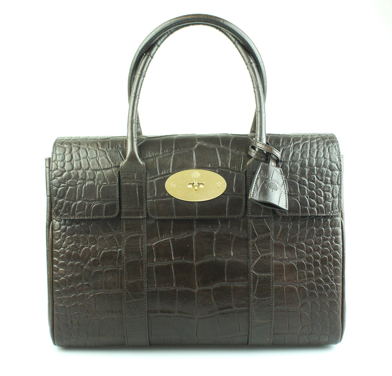 Mulberry Printed Veg Tanned Croc Embossed Bayswater Choc Brown
