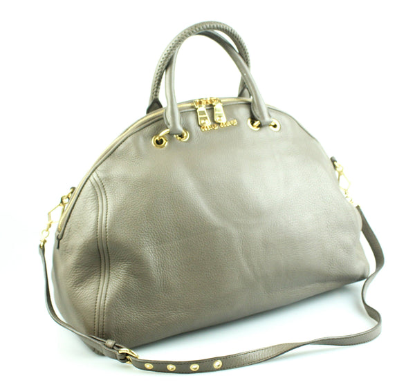 Miu Miu Dome Shaped Large Taupe Calf Leather Tote With Strap