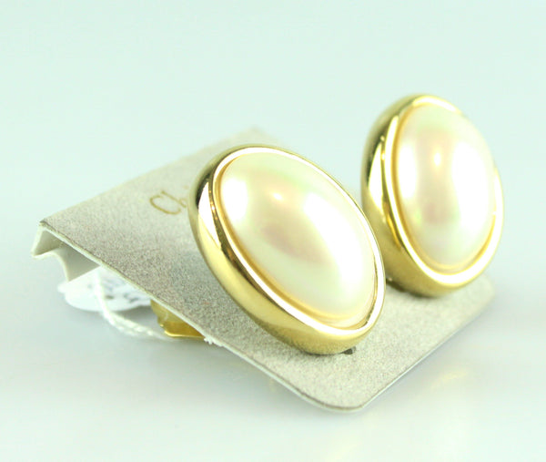 Christian Dior Vintage Clip Earrings With Large Oval Pearl