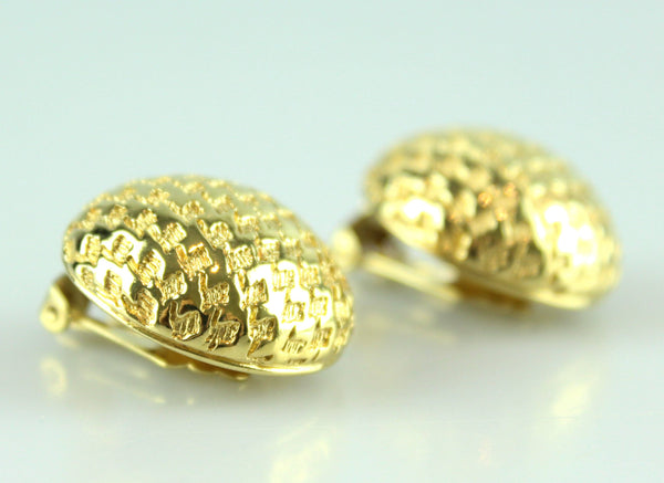 Christian Dior Vintage Clip Earrings With Geometric Design Sphere