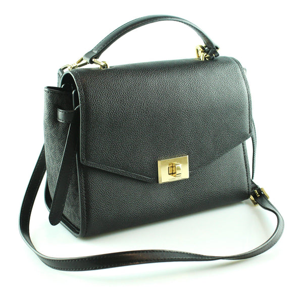 Michael Kors  Black Cassie Leather Messenger Bag