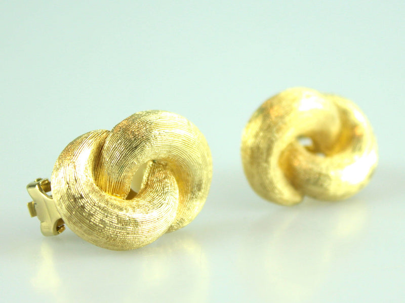 Christian Dior Vintage Clip Earrings With Brished Metal Knot Detail Gold