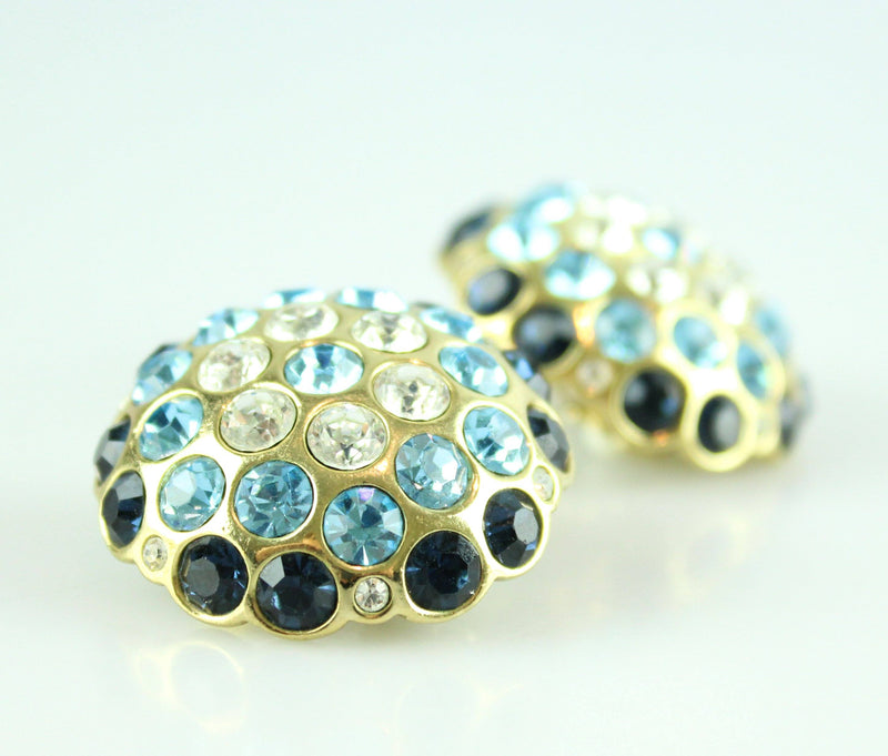 Christian Dior Vintage Clip Earrings Dark Blue, Blue And White Stones