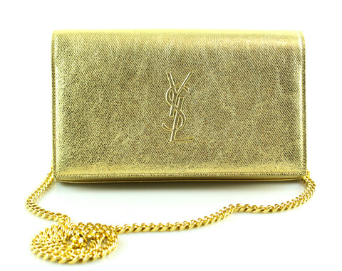 Saint Laurent Gold Metallic Monogram Wallet On Chain
