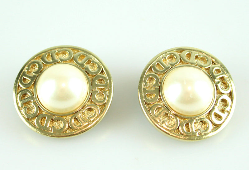 Christian Dior Vintage Clip Earrings Logo And Costume Pearl