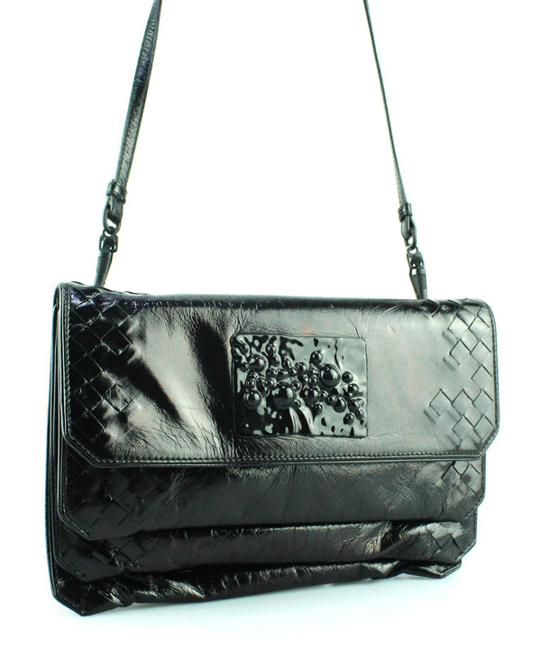 Bottega Veneta Black Patent Intrecciato Two Way Bag