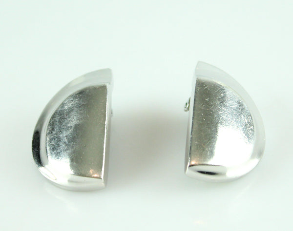 Christian Dior Vintage Clip Earrings Silver Metal