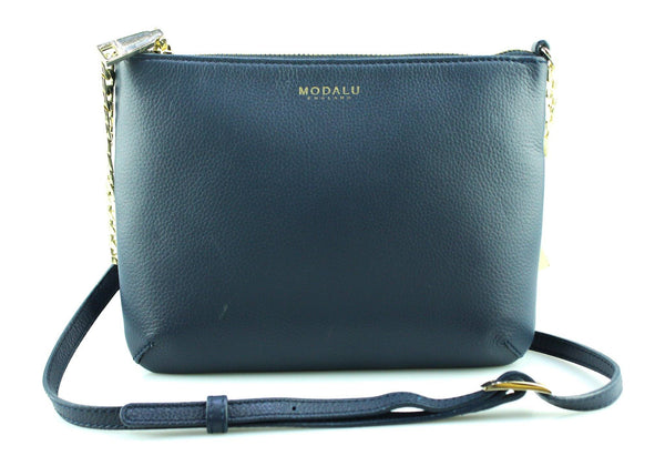 Modalu Navy Pouch Crossbody With Gold Chain