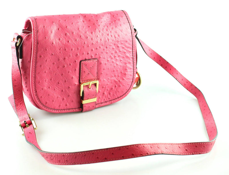 Michael Kors Pink Ostrich Embossed Saddle Bag