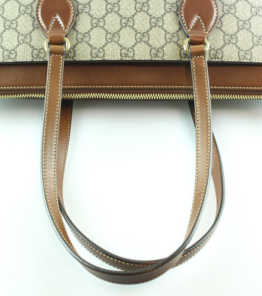 Gucci Monogram GG Leather Trim Linea Zip Tote RRP €980