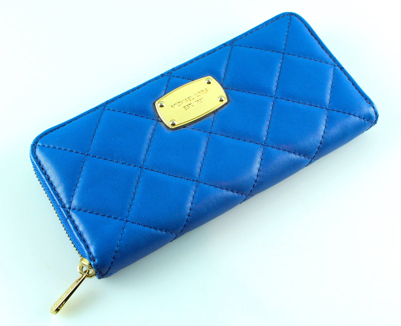 Michael Kors Blue Quilted Zip Around Wallet GH