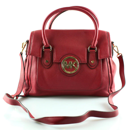 Michael Kors Red Leather Fulton Satchel GH