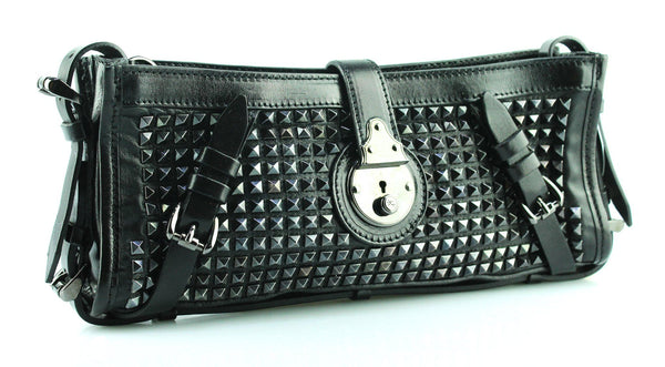 Burberry Hyde Long Studded Clutch Black And Gunmetal (missing wrist strap)