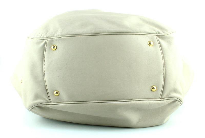 Miu Miu Taupe Nappa Leather Gathered Hobo