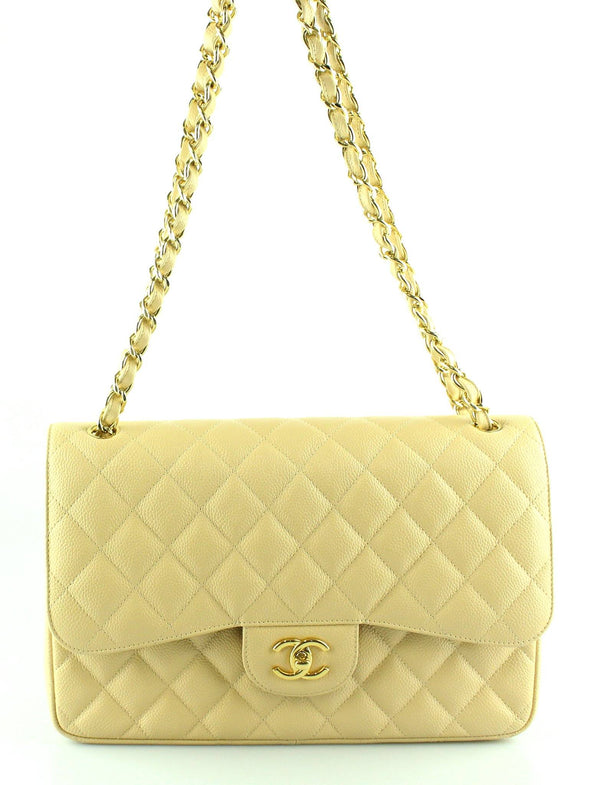 Chanel Beige Clair Caviar Jumbo Double Classic Flap GH 2012