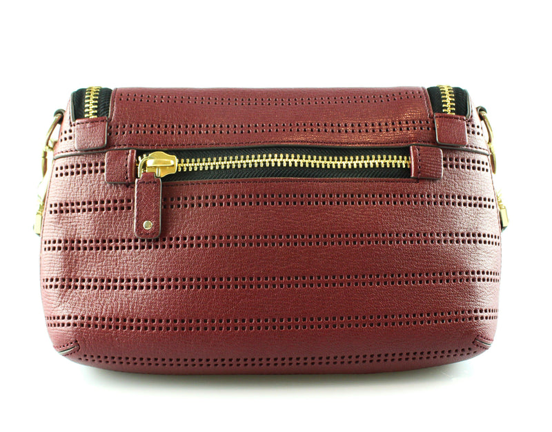 Anya Hindmarch Burgundy Perforated Maxi Zip Cross Body GH