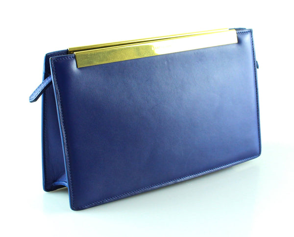 Saint Laurent Cobalt Blue Leather Lutetia Clutch GH