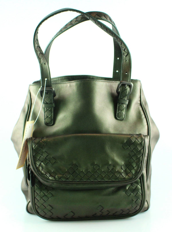 Bottega Veneta Iridiscent Scarabee Multi Pocket Tote Green