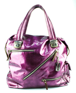Pauric Sweeney Metallic Purple Patent Zip Detail Shoulder Bag
