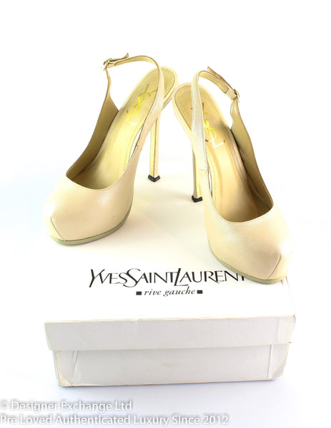 YSL Platform Slingback Pump Beige Grained Leather EUR 38 UK 5