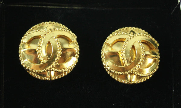 Chanel Gold Plated 97A Vintage Clip CC Earrings