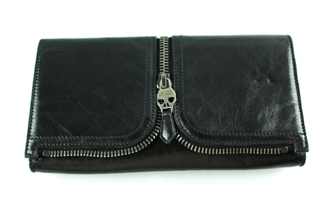 Alexander McQueen Black Leather Skull Zip Clutch