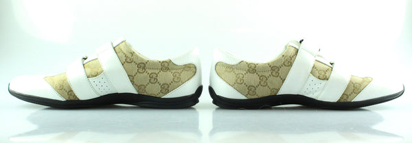 Gucci Beige GG Velcro Trainer With White Leather Trim EUR 38.5 UK 5.5