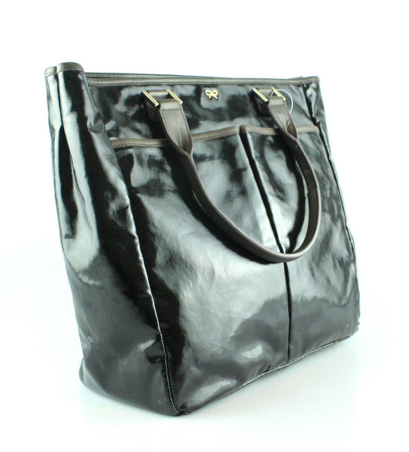 Anya Hindmarch Nevis Tote Black Patent Grey Trim Large