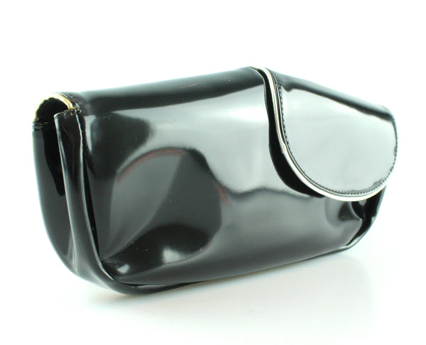 See By Chloe Black Patent Double Flap Clutch