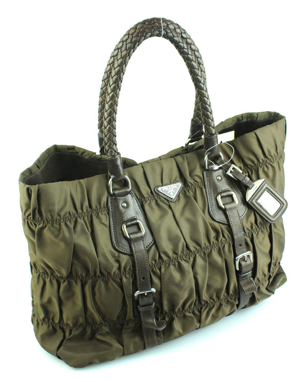Prada Nylon Woven Handle Brown Gathered Tote