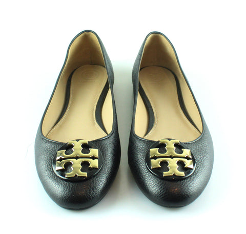 Tory Burch Black Leather Ballerina Pumps EUR 40 UK 7