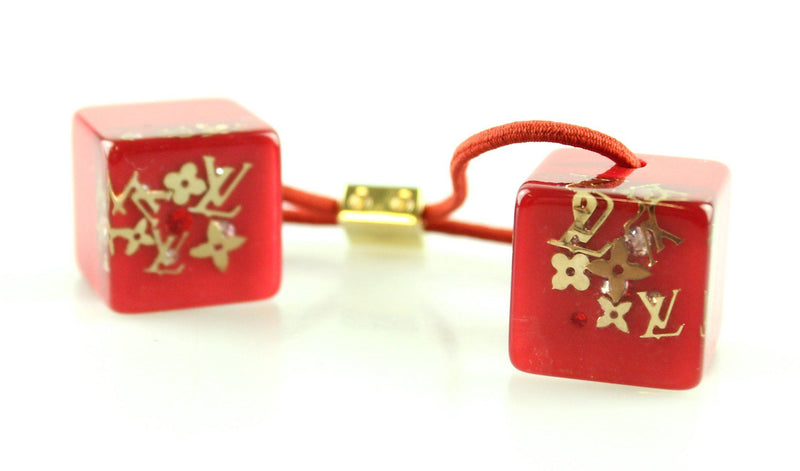 Louis Vuitton Red Inclusion Hair Tie Cubes