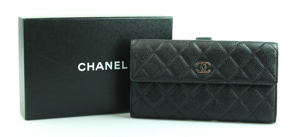 Chanel Caviar Leather Black Long Flap Wallet 2009/10