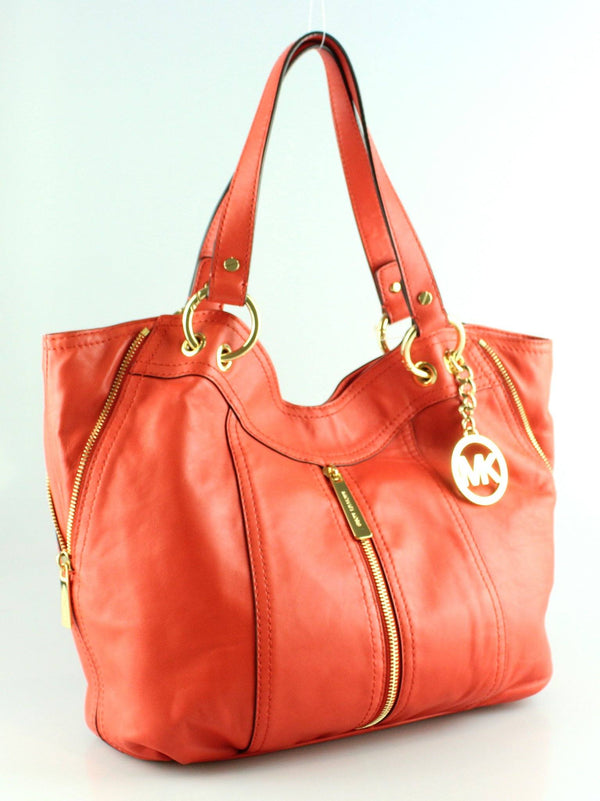 Michael Kors Orange Soft Leather Moxey Zipped Hobo