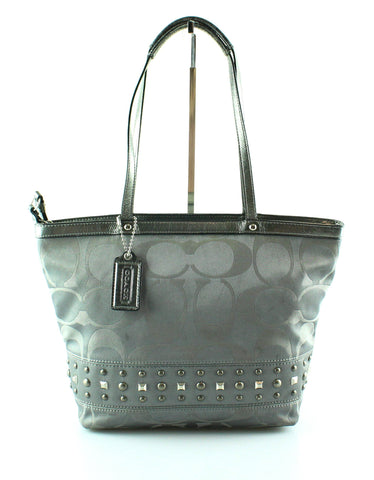 Coach Silver Signature Stripe Studded Tote