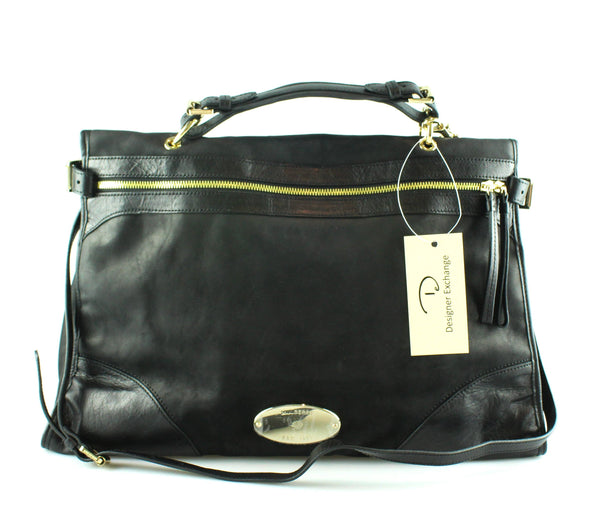 Mulberry Taylor Oversize Satchel Black Smooth Leather