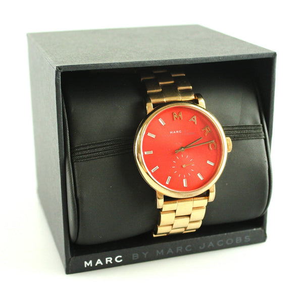 Marc By Marc Jacobs MBM3344 Rose Gold Baker Watch Red Dial