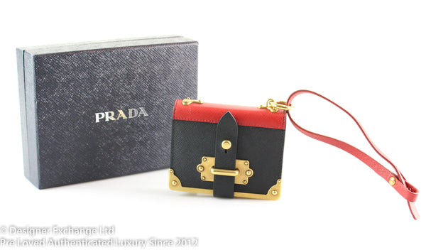 Prada Cahier Key Chain Trick Black And Fire Engine Red