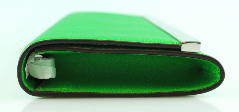 Michael Kors Green Saffiano Leather Clutch With Strap
